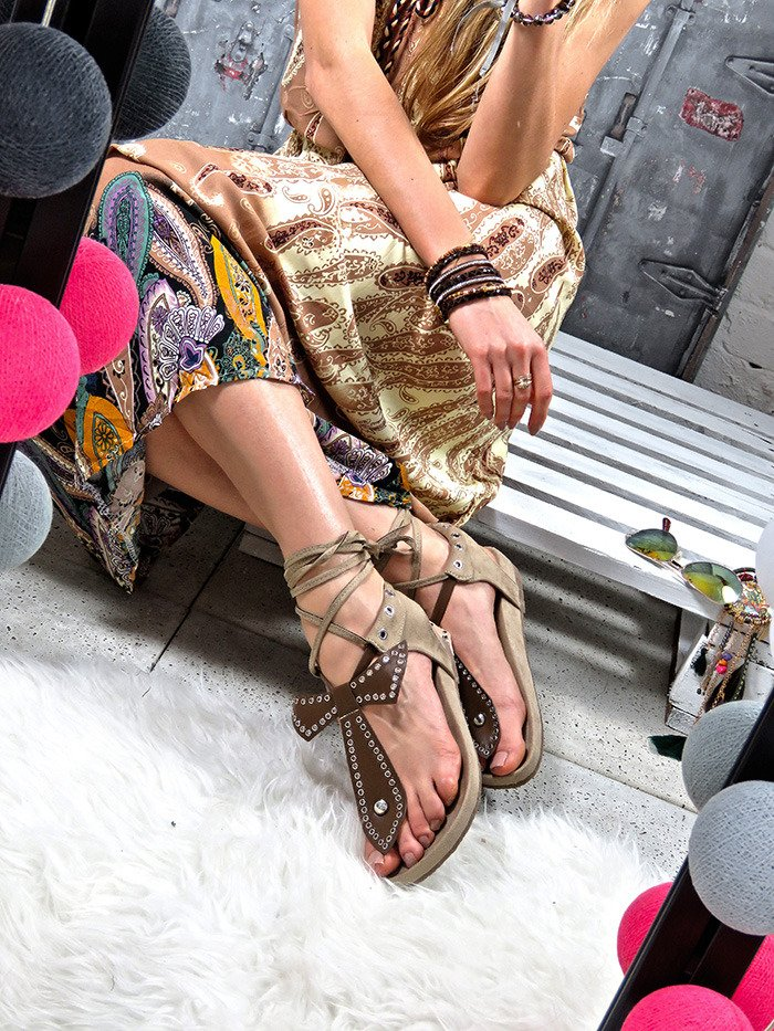 FAUX SUEDE STUDDED GLADIATOR SANDALS