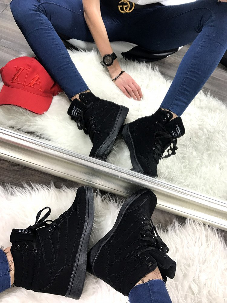 LU BOO BLACK OPENWORK SNEAKERS WITH HIDDEN WEDGES MADE OF FAUX SUEDE
