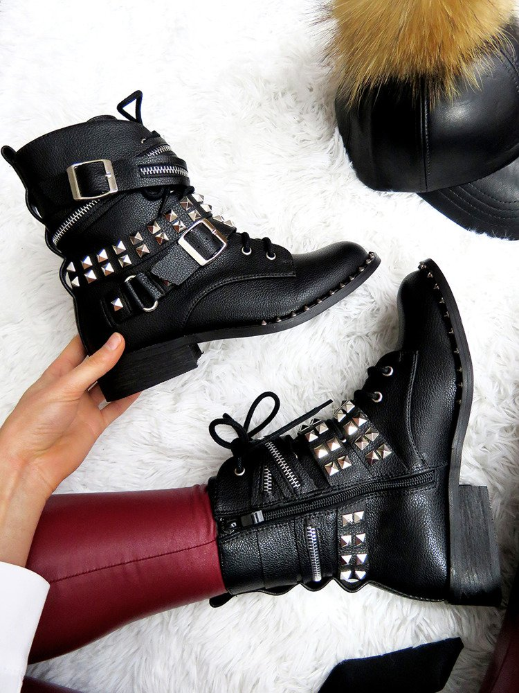 LU BOO BLACK WORK STUDDED BOOTS INTERLINED