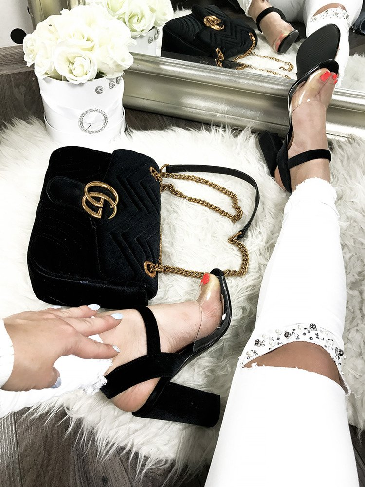 Perspex block high heels with ankle strap
