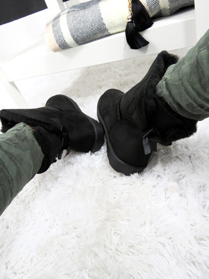 BLACK SLIP ON FUR ANKLE SNOW BOOTS