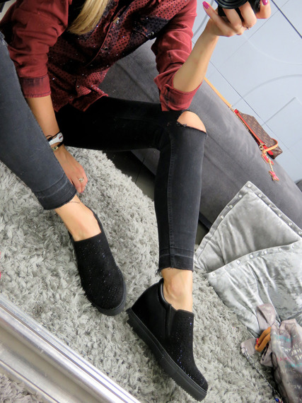 Black Slip On Sneakers wedges Ella