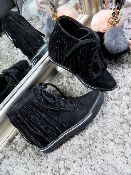 Black Sneakers Wedge Fringe
