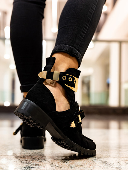 Black Suede Cut Out Boots