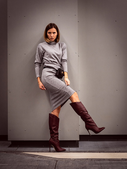 Burgundy PU Elegant Knee High Boots