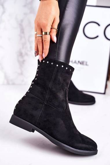 Classic Women's Insulated Boots With Studs Suede Black Performance