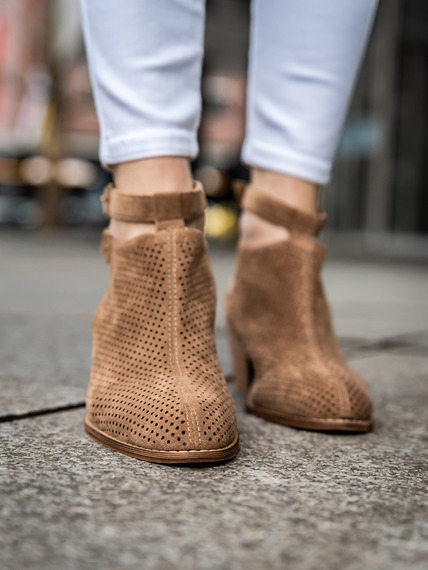 Closed Toe Laser Cut Ankle Booties