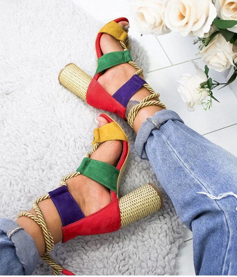 Colorful block heels sandals Rainbow
