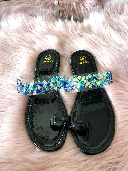 Black Flower Toe Ring Sandal