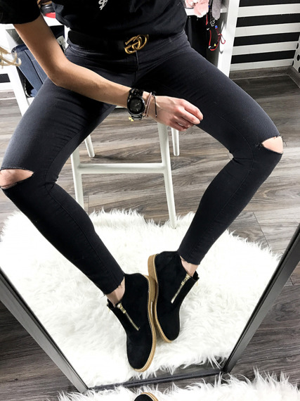 Black Ankle Shoes With Fancy Zippers