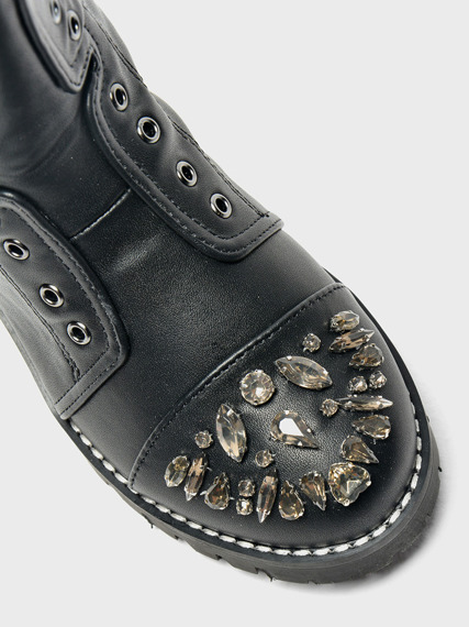 LU BOO BLACK WORK BOOTS WITH GLITTER JEWELS