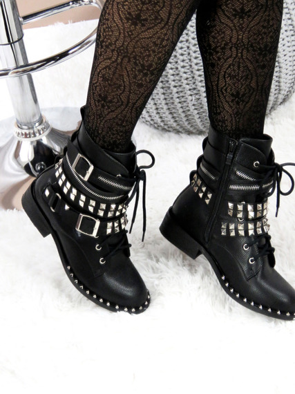 Black Work Studded Boots Interlind