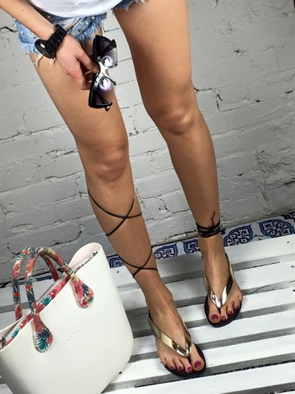 Gold Lace Up Gladiator Sandals