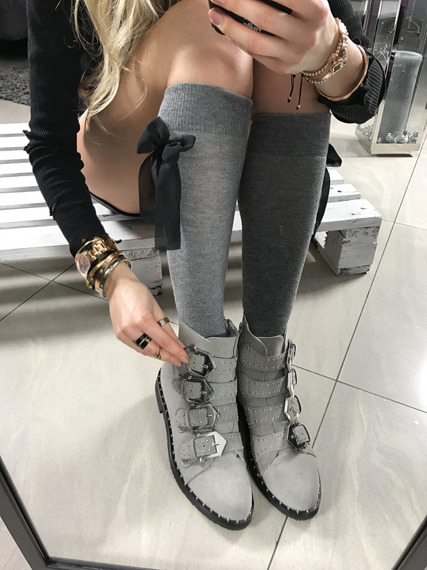 Grey Ankle Boots with studded Vintage