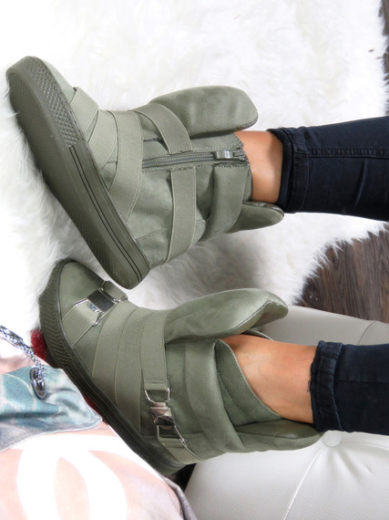Olive Hi Top Wegde Ankle Sneakers Babe