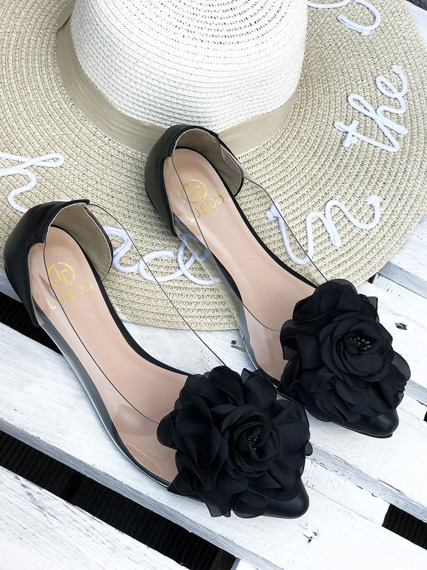 Black Transparent Ballerinas with Flower