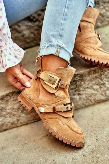 Lu Boo Suede Cut Out Ankle Boots Camel Rock Girl