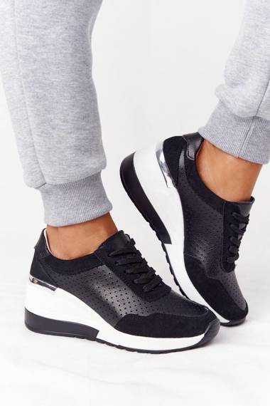 Openwork Leather Wedge Sneakers S.Barski Black