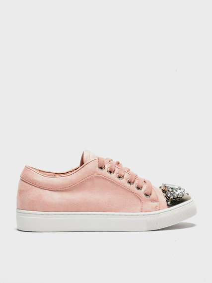 Pink sneakers with glitter jewels