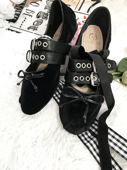 Powder Black Ribbon & Bow Detail Ankle Strap Ballerina