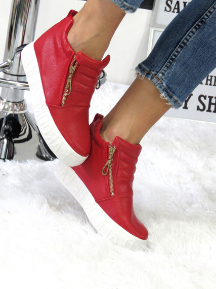RED SNEAKERSY TRAINERS WEDGES SLIP ON