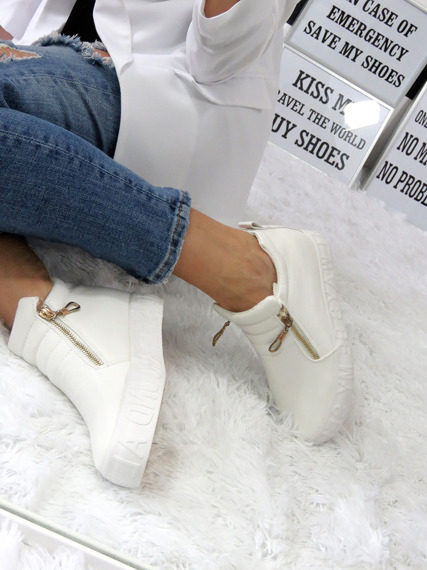 White Sneakers Wedge Slip On