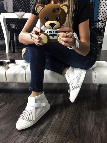 White Sneakers Fringe Magnetic