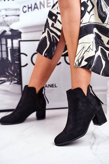 Women's Boot On High Heel Suede Black Mimosa