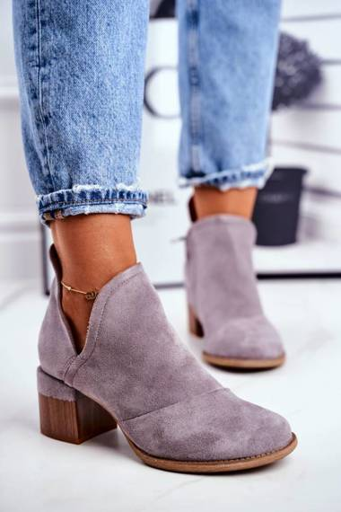 Women's Boots On High Hee Trimmed Grey Mini Meliori