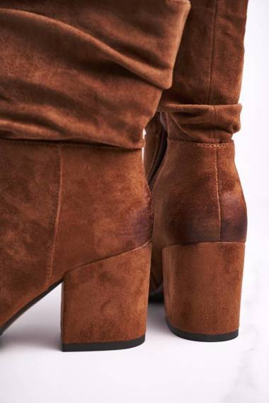 Women's Boots On High Heel Eco-Suede Camel Up Side