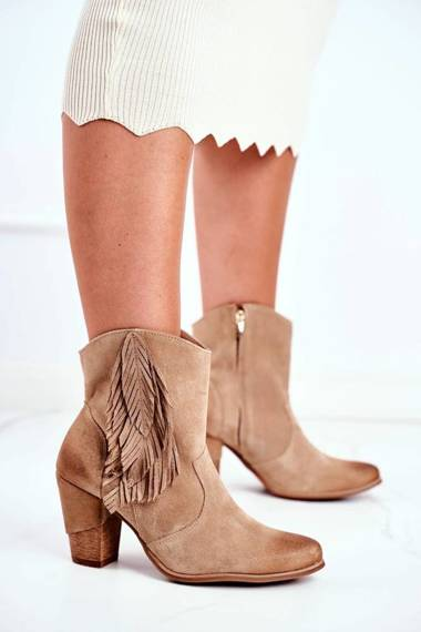 Women's Boots On High Heel Leather Beige Quintana