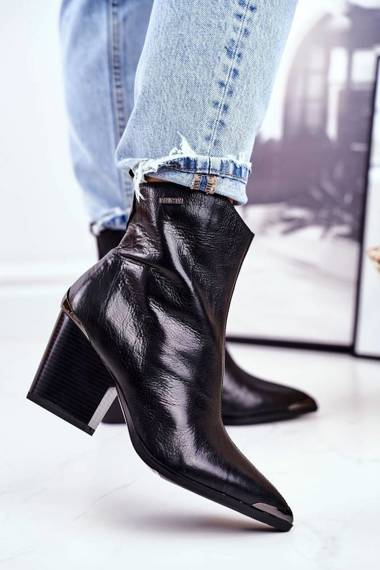 Women's Boots On High Heel Leather Big Star Black GG274919