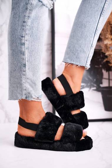 Women's Furry Slippers on the Platform Black Cotton Candy