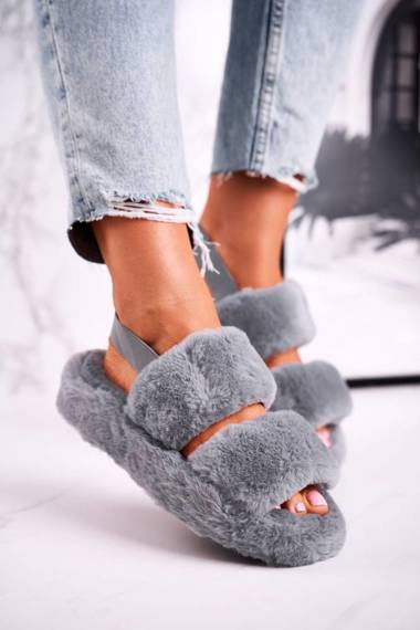 Women's Furry Slippers on the Platform Grey Cotton Candy
