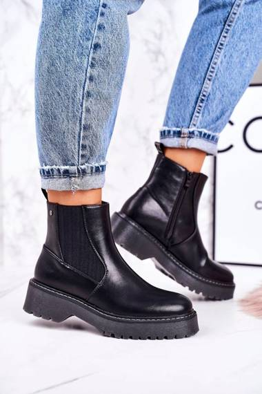 Women's Insulated Chelsea Boots On A Rubber Sole Black Voyager