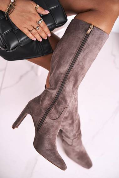 Women's Knee-High Boots Eco-Suede Grey Truly Love