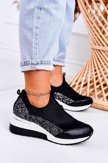 Women's Leather Wedge Sneakers Black Silver Frances