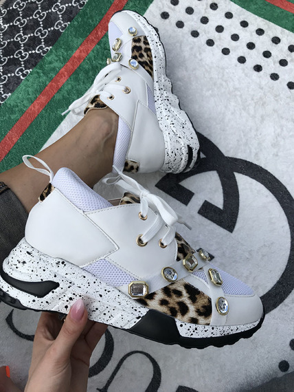 Women's White lace up  trainers Glamour