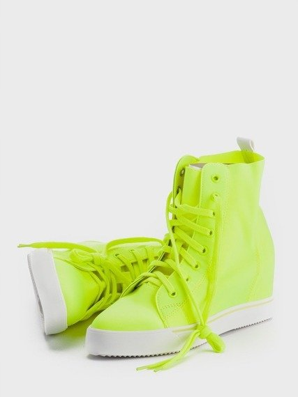 Yellow Sneakers Wedge Lycra