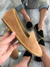 Beige exclusive loafers with gold frills
