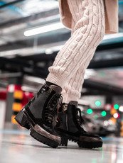 Black Chunky Block Heel Lace Up Boots