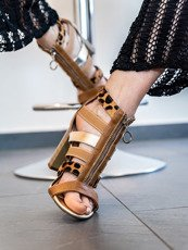 Block Strappy Heels Gold Leopard