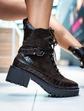 Brown Chunky Block Heel Lace Up Boots