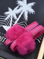 FUCHSIA FLUFFY SLIDES FLIP FLOPS WITH  A FUR