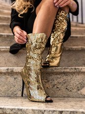 Gold Peeptoe Shoe Boot London