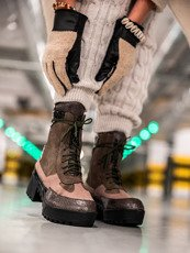 Green Chunky Block Heel Lace Up Boots