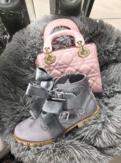 Grey Ankle Studded Boots Lola