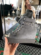 Grey Hi Top Sneakers Wedges Spring