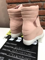 HI TOP SNEAKERS WEDGE ANKLE SHOES POWDER PINK