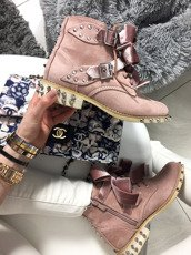LU BOO PINK ANKLE STUDDE BOOST WITH CUTE BOW